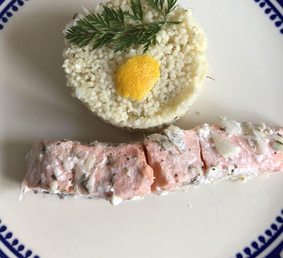 Papillote de salmón al limón con cuscus