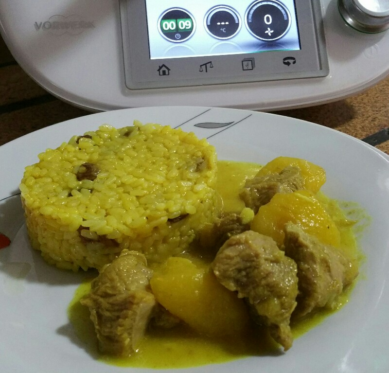 Pavo al curry con guarnicion de arroz